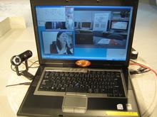 Web会議サービス「SOBA mieruka」のTV取材の様子